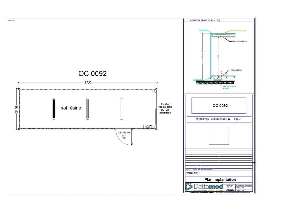 Bâtiment modulaire stockage 20 m²