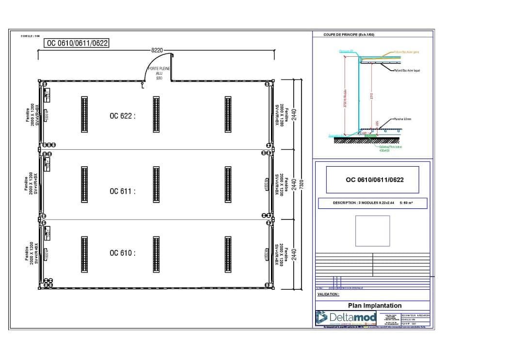 Bâtiment préfabriqué occasion de 60 m²